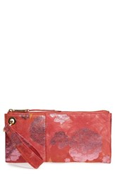 Hobo 'Vida' Leather Clutch Yellow Sunrise Floral