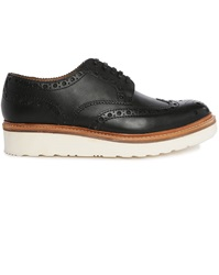 Grenson Archie V Black Brogue Shoes With Floral Toe And White Sole