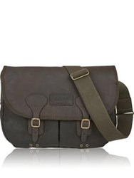 Barbour Wax Leather Tarras Bag Olive
