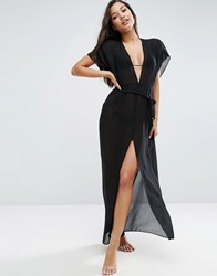 Asos Chiffon Maxi Beach Kaftan With Self Belt Black