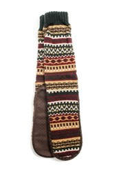 Muk Luks Printed Slipper Socks Beige