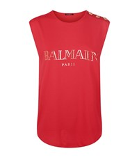 Balmain Logo Button Tank Top Female Pink