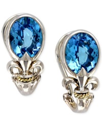 Effy Collection Balissima By Effy Blue Topaz Fleur De Lis Earrings In 18K Gold And Sterling Silver 5 3 8 Ct. T.W.