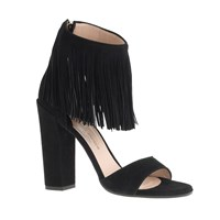 Paul Andrewtm For J.Crew Fringe High Heel Sandals Black