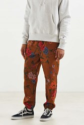 Urban Outfitters Uo Printed Satin Baggy Pant Brown