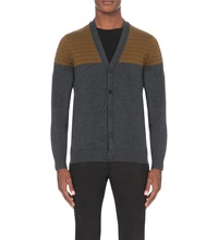 Paul Smith Contrast Panel Wool Cardigan Elephant
