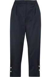 Mother Of Pearl Jewell Faux Embellished Satin Tapered Pants Navy