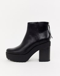 Bershka Platform Heeled Boot Black