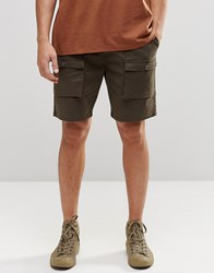 Asos Slim Cargo Shorts In Mid Length In Khaki Khaki Green