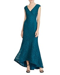 Ralph Lauren Floral Lace Gown French Teal
