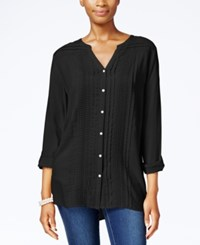 Jm Collection Pleated Button Front Shirt Only At Macy's Deep Black