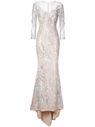 Mikael D. Beaded Gown Metallic