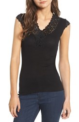 Rosemunde Women's Benedict Lace Trim Tee Black
