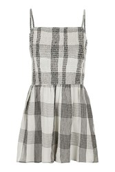 Topshop Strappy Check Playsuit Cream