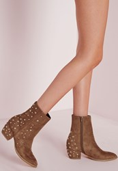 Missguided Pointed Toe Star Detail Ankle Boots Tan Brown