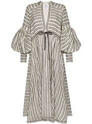 Rosie Assoulin Lantern Striped Midi Dress Neutrals