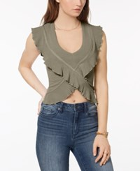 American Rag Juniors' Ruffled Crop Top Created For Macy's Dusty Olive