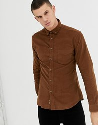 Celio Slim Fit Long Sleeve Shirt With Pocket In Tan
