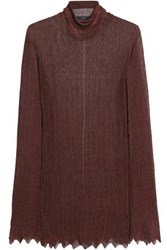 Ellery Metallic Ribbed Knit Turtleneck Sweater Chocolate