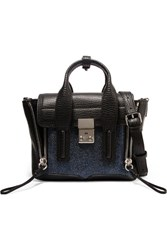 3.1 Phillip Lim The Pashli Mini Textured And Stingray Effect Leather Trapeze Bag Black