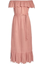 Marysia Off The Shoulder Ruffled Broderie Anglaise Cotton Dress Antique Rose
