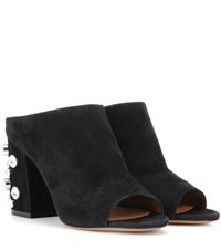 Givenchy Paris 9 Suede Open Toe Mules Black