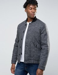 Asos Wool Mix Bomber Jacket With Borg Lining In Salt And Pepper Salt And Pepper Black