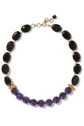 Bounkit Gold Tone Stone Necklace Purple