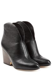 Diane Von Furstenberg Leather Ankle Boots Black