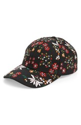 Topshop Women's Floral Embroidered Cap Black Black Multi