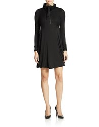 Kensie Zip Neck Jersey Dress Black