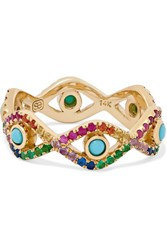 Sydney Evan Evil Eye 14 Karat Gold Multi Stone Ring