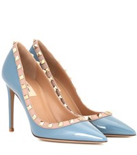 Valentino Garavani Rockstud Patent Leather Pumps Blue