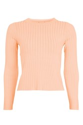 Topshop Fine Guage Strap Back Knitted Crop Top Peach