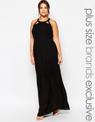 Truly You Maxi Dress With Lace Up Halter Back Detail Black