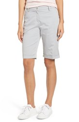 Brax Stretch Cotton Cuff Bermuda Shorts Silver Grey