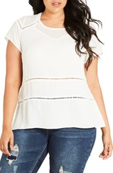 City Chic Plus Size Women's Night Out Top Ivory