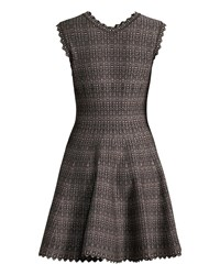 Alaia Shimmered V Neck Fit And Flare Dress Black Pink