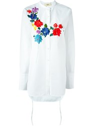 Ports 1961 Floral Embroidery Blouse White