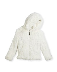 Adrienne Landau Hooded Zip Front Rabbit Fur Jacket Size 2 12 White