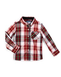 Andy And Evan Holiday Plaid Poplin Shirt Red Size 2T 7Y