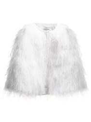 Osman Raven Ostrich Feather Embellished Cape White