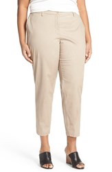 Plus Size Women's Eileen Fisher Stretch Twill Crop Tapered Leg Trousers Mocha