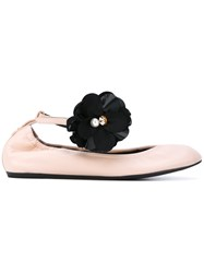Lanvin Floral Pin Ballerina Shoes Women Leather Rubber 35 Pink Purple