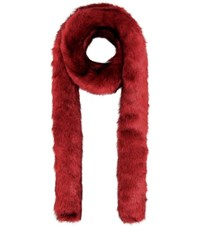 Helmut Lang Faux Fur Scarf Red
