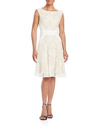 Gabby Skye Floral Lace A Line Dress Ivory Nude