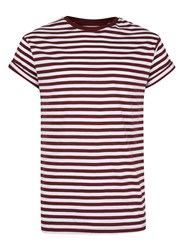 Topman Burgundy Stripe Muscle Fit Roller T Shirt