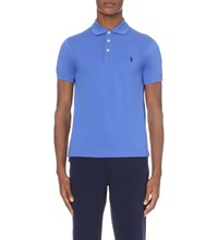 Ralph Lauren Branded Stretch Cotton Polo Shirt Blue