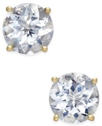 Macy's Aquamarine Round Stud Earrings 3 1 2 Ct. T.W. In 14K Gold Yellow Gold