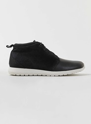Topman Black Leather Suede Mix Chukka Boots